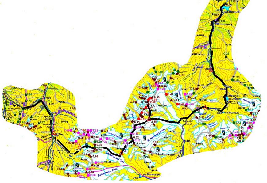Трек на Талгар (часть авторской тур. карты)