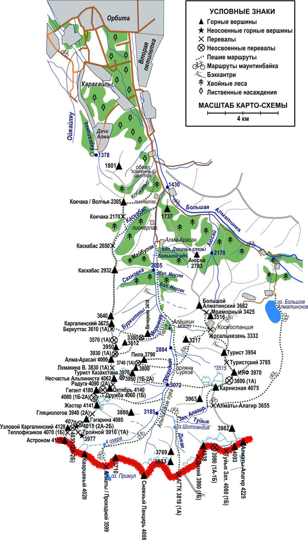 Туристская карта Проходного ущелья