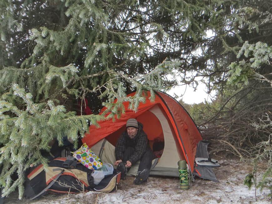 зимняя ночевка в горах