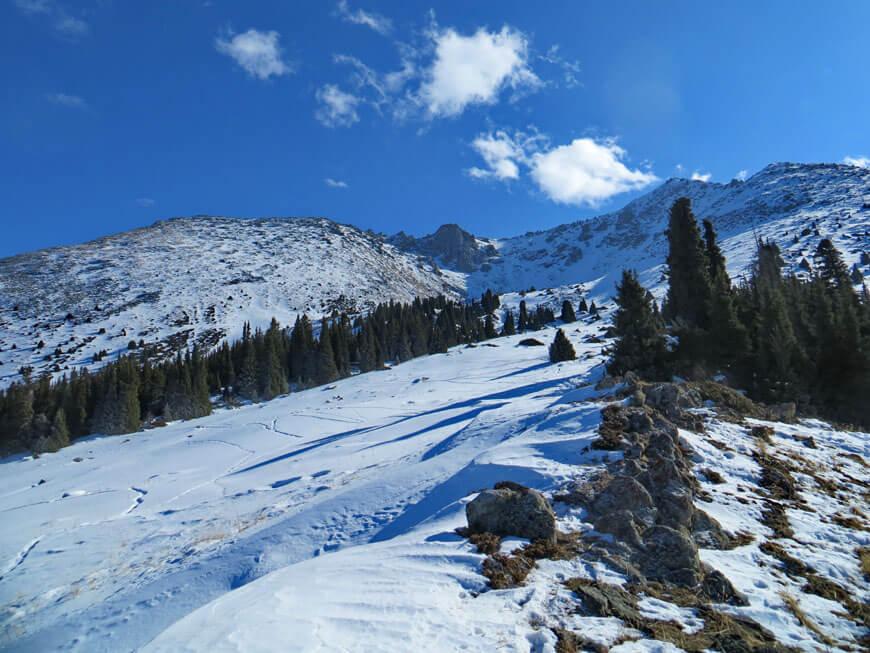 снежная поляна в горах