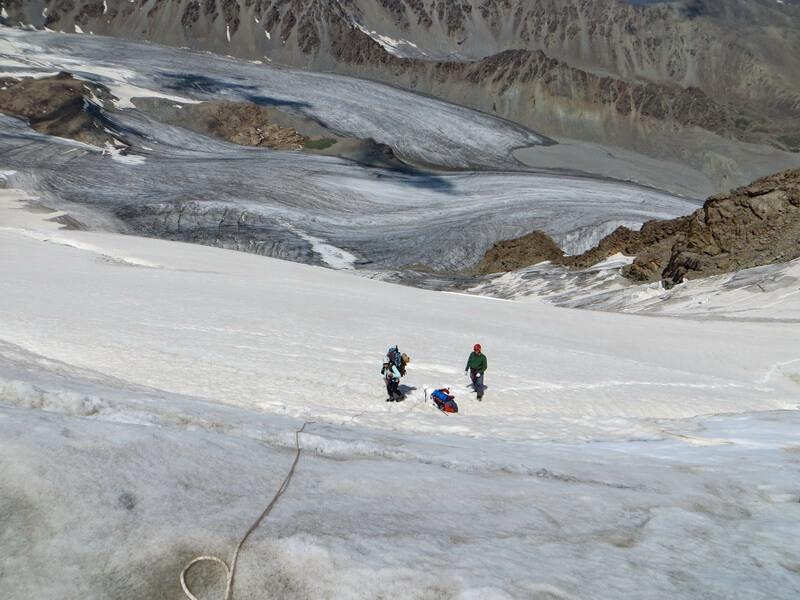 Прохождение бергшрунда, пик Тургень