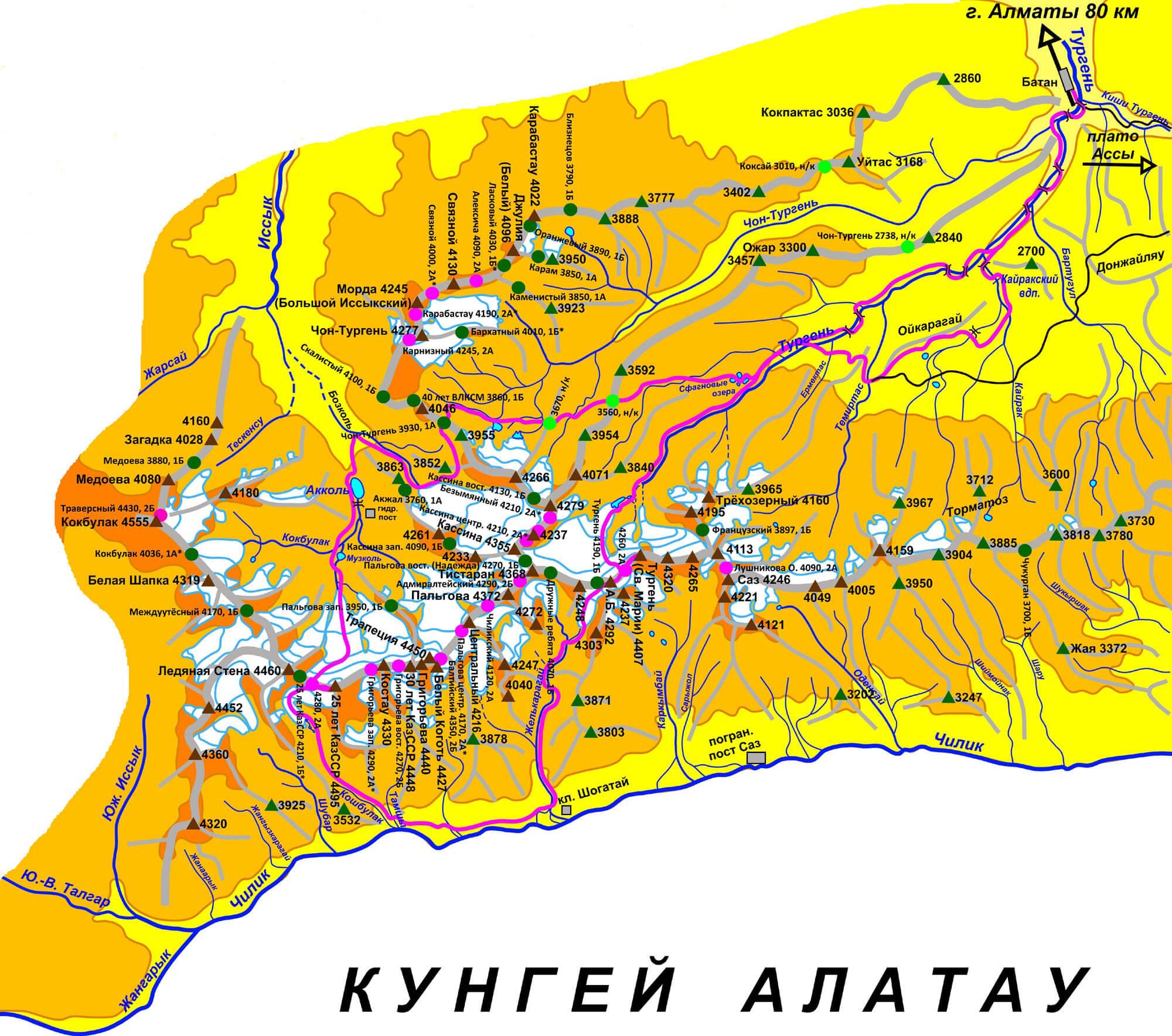Карта Тургеньского ущелья, карта Заилийского Алатау