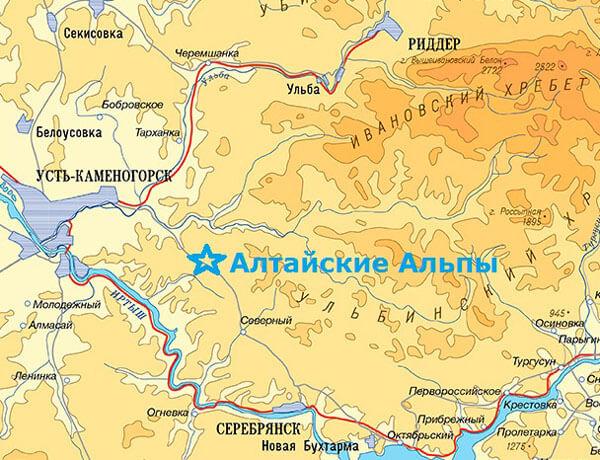 Карта, Алтайские Альпы