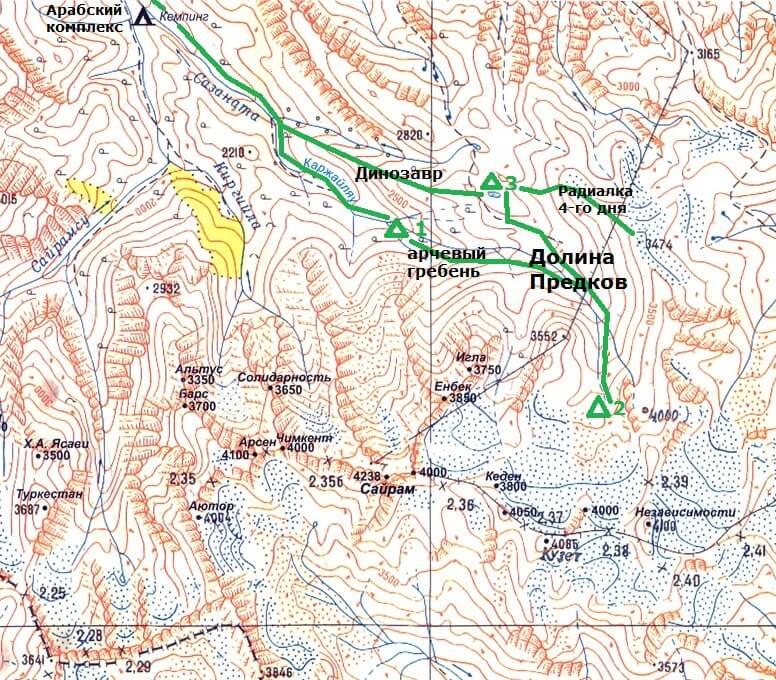 Карта маршрута, озера Сильбили