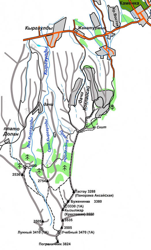 Туристская карта ущелья Кыргаулды