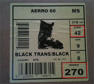 Размер ботинок на коробке