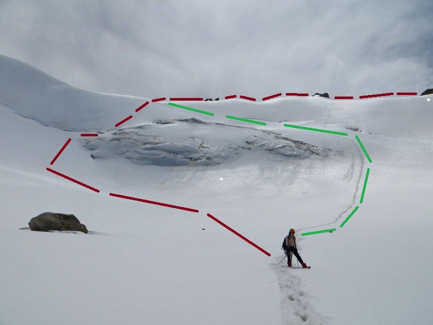 Путь подъема - красным, путь спуска - зеленым