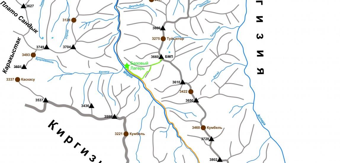 Карта Меркенского ущелье, карта ущелья Мерке