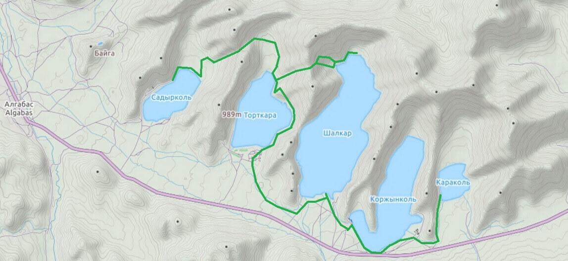 карта Сибинских озер, Калбинский хребет