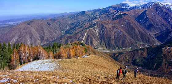Hiking autumn mountain almaty