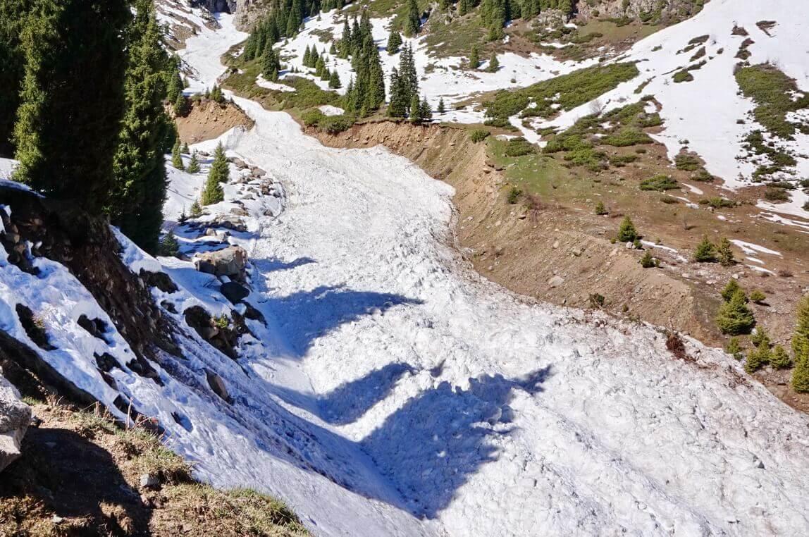 лавина в Малом Алматинском ущелье (туюксу)